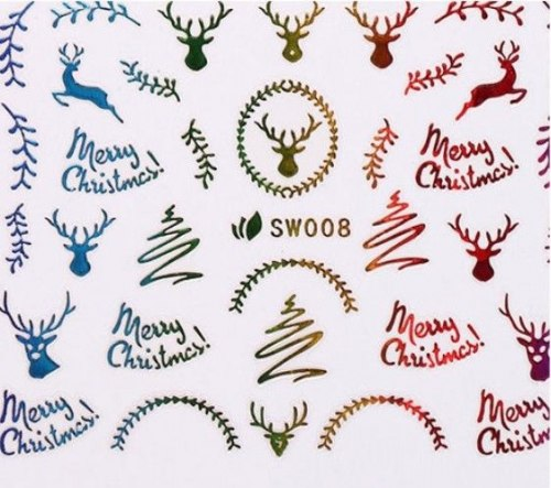 3д голографисческие новогодние наклейки для маникюра