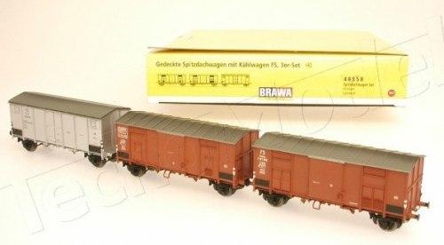 Cет итальянских крытых вагонов-ледников FS Brawa 48558