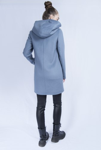 Пальто с капюшоном синее 100% шерсть Millennium 799