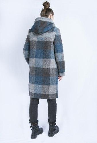 Пальто с капюшоном в крупную клетку Millennium 2057