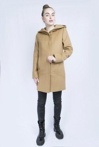 Пальто с капюшоном кэмел 100% шерсть Millennium 799