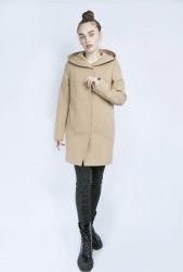 Пальто в рубчик песочное с капюшоном Millennium 799