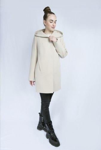 Пальто в рубчик молочное с капюшоном Millennium 799