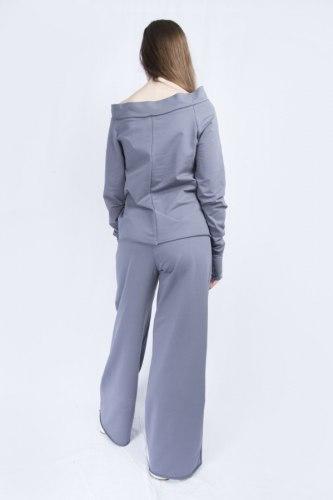Серо-голубой костюм с широкими брюками Millennium 2115